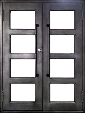ALEKO Iron Square Top Minimalist Glass-Panel Dual Door with Frame and Threshold - 72 x 6 x 96 inches - Nickel