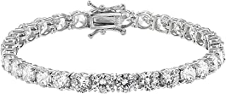 JTV-White Cubic Zirconia Rhodium Over Sterling Silver Bracelet 27.65ctw