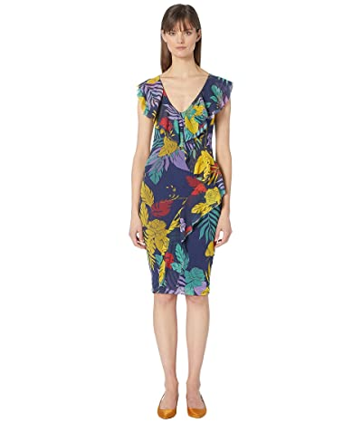 FUZZI Leaf Print Fitted Front Ruffle Dress (Darkness) Women