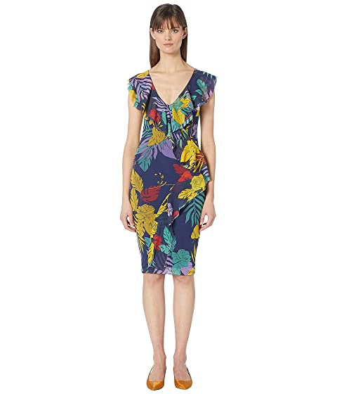 FUZZI Leaf Print Fitted Front Ruffle Dress