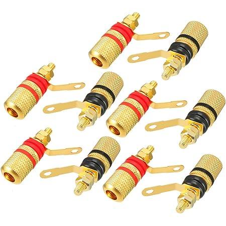 uxcell 10pcs Copper Speaker Amplifier Terminal Dual Binding Post Banana Connectors