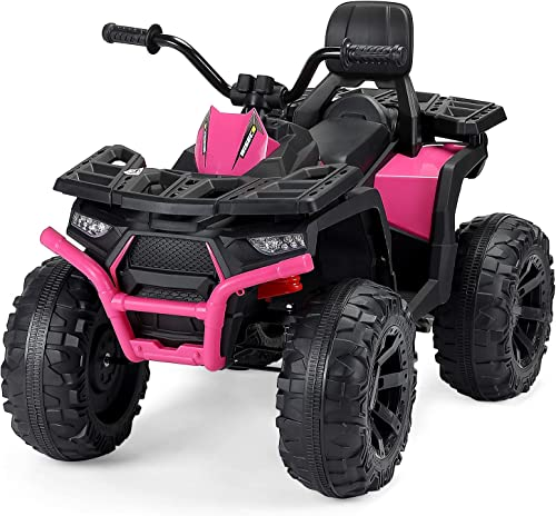 high quality 12V Electric Kids Ride discount On ATV Quad Treaded Tires LED Lights 4 Wheeler lowest Ride On Car High Low Speeds, Head Lights, 4 Wheels, Bluetooth, MP3 (Pink) outlet online sale