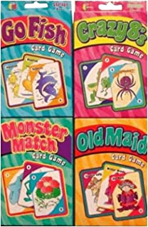 Childrens Card Games: Old Maid, Go Fish, Crazy 8S & Monster Match (4 Decks)