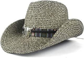 LiWen Zheng Summer Fashion Retro Women Men's Wide Brim Straw Sun Beach Cowboy Western Hat Hollow Out Bull Head Leather Band