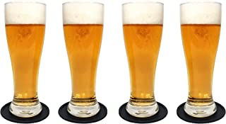 Nucleated Pilsner Craft Beer Glasses Set, Brimley 16oz Beer Drinking Set of 4 with Silicone Drink Coasters