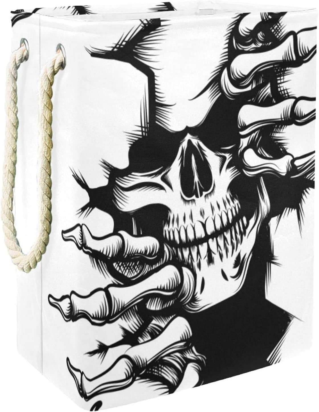 Horrific Cheap sale Skull specialty shop White and Black Large Hamper Easy Ca With Laundry