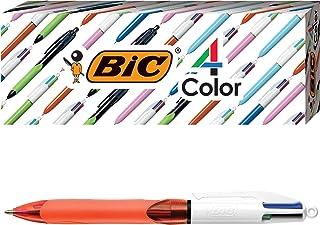 توپ BIC 4-Color Grip، بشکه نارنجی، نقطه ضخیم (0.8mm)، جوهرهای مختلف، 3-Count