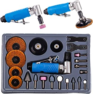 """Air Angle Die Grinder - 23pcs 1/4"""" 90° Sanding Polishing Carving Rotary Tool Kit with Abrasives"""