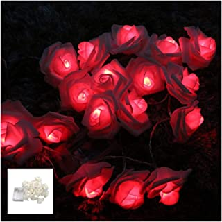 Fantasee LED Rose Flower String Lights Battery Operated for Wedding Home Party Birthday Festival Indoor Outdoor Decor (Whi...