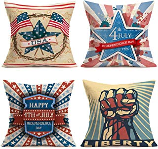SmilyardAmerican Flag Pillow Coversfor July 4th Independence Day and Flag Day Decorative Stars Stripes Throw Pillow Case 18x18 Inch Set of 4Cotton Linen Patriotic Cushion Cover for Sofa(Style 4PC)