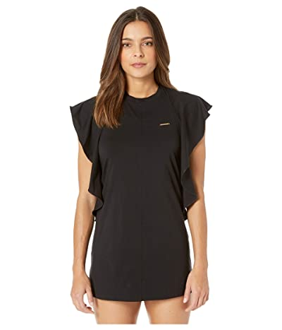 Stella McCartney Ruffles T-Shirt Cover-Up (Black) Women