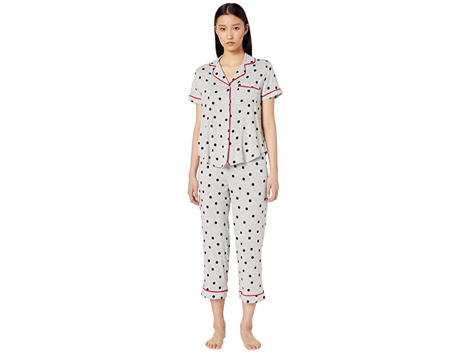 Kate Spade New York Jersey Knit Cropped Pajama Set (Dancing Dot) Women