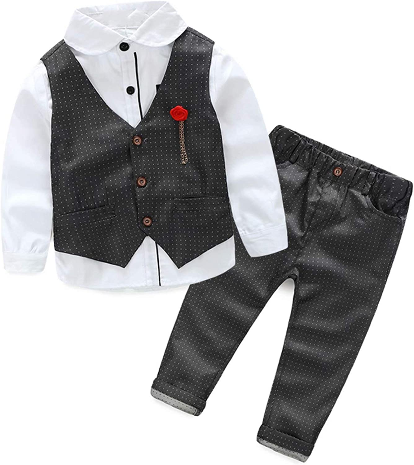 Hemopos NEW before selling Baby Boys Formal Suits Long Shirt+ Baltimore Mall Color Sleeve L Vest+