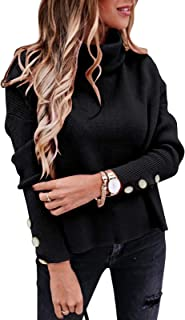 Womens Turtleneck Knit Sweaters Jumpers Casual Button...