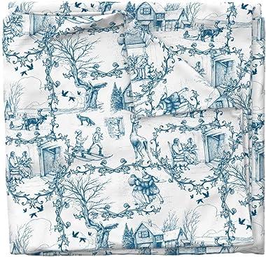 Roostery Duvet Cover, Blue Winter Toile Woodland Fox Deer Elk De Jouy Print, 100% Cotton Sateen Duvet Cover, Twin