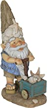 Exhart Beach Lover Gnome Decor - Chubby Gnome Resin Statue Wearing Blue Netted Shirt & Gnome Hat Decked with Seashells and Starfish, Brown Shorts and Flip Flops - Beach Bum Elf Statue in Pastel Colors