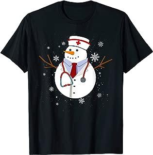 Nurse Medical Scrub Top Nurse's Hat Wearing Christmas Lover T-Shirt