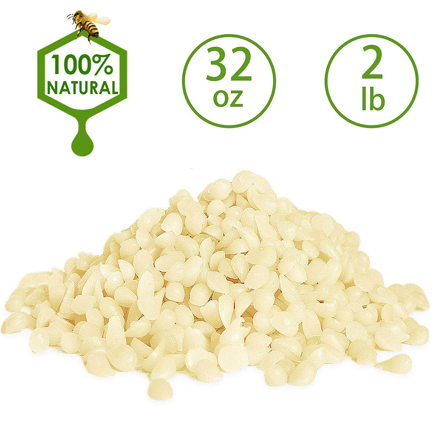 YIIA White Beeswax Pellets 2 lb (32 oz) Pure, Natural, Cosmetic Grade Beeswax Pastilles