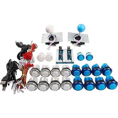 Easyget LED Arcade Controller DIY Kit 2x LED USB Encoder + 2x 4/8 Way Joystick + 20x LED Arcade Buttons - White + Blue Kit