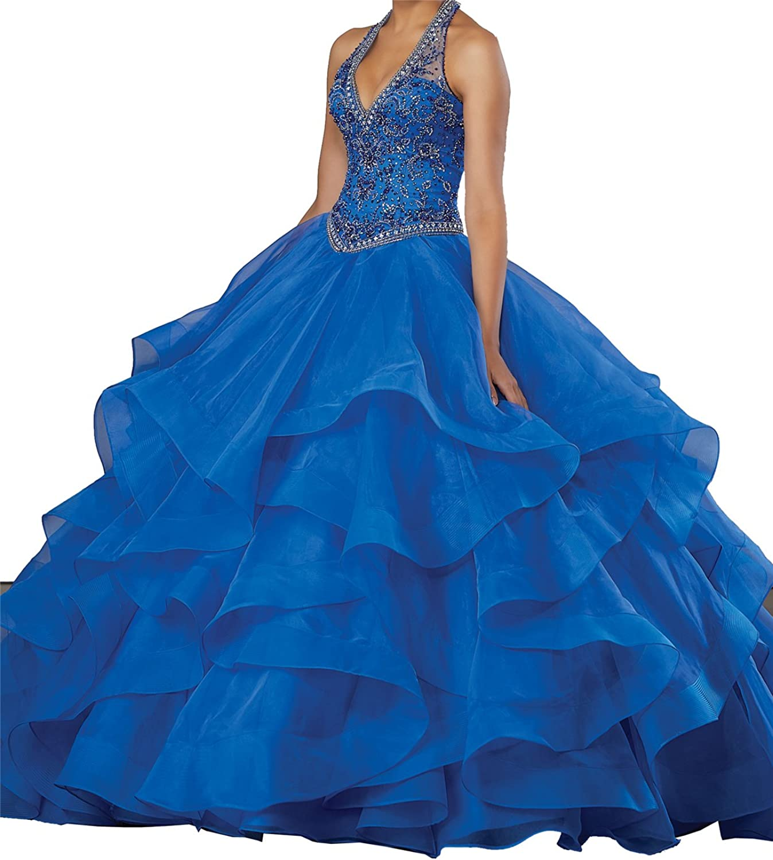 MFandy Women Vneck Ball Gowns Halter Beaded Quinceanera Dresses