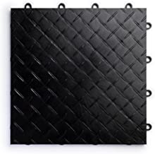RaceDeck Diamond Plate Design, Durable Interlocking Modular Garage Flooring Tile (48 Pack), Black
