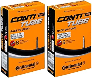 Continental Race 28 700x20-25c Bicycle Inner Tubes - 42mm Long Presta Valve - 2 Pack w/ Conti Sticker