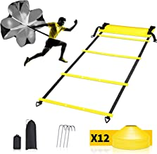 POFUN Pro Speed Agility Training Set - Indoor Outdoor Adjustable Rungs Agility Ladder, Resistance Parachute, 4 Steel Stakes, 12 Disc Cones - Kit for Soccer,Hockey, Basketball Drill,Lacrosse,etc…