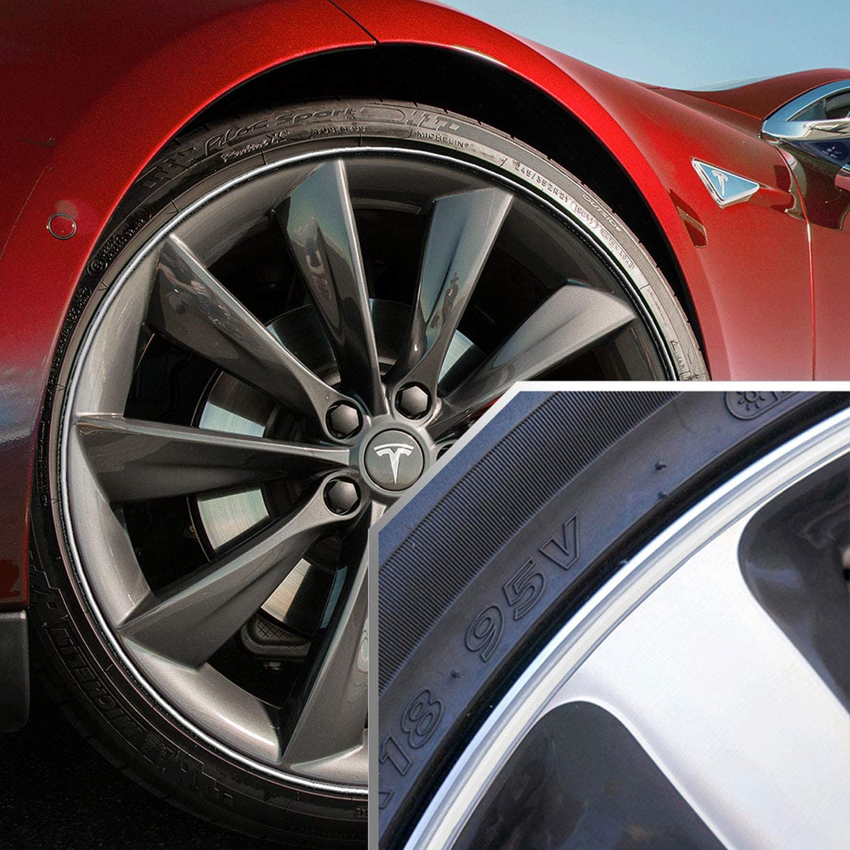 ECCPP Heavy Duty Wheel Guard Rim Protecting Trim Ring 20 inch Red Universal Fit for BMW Mercedes Benz Audi Ford Chevy Toyota Mazda All The car Styling 4X Piece