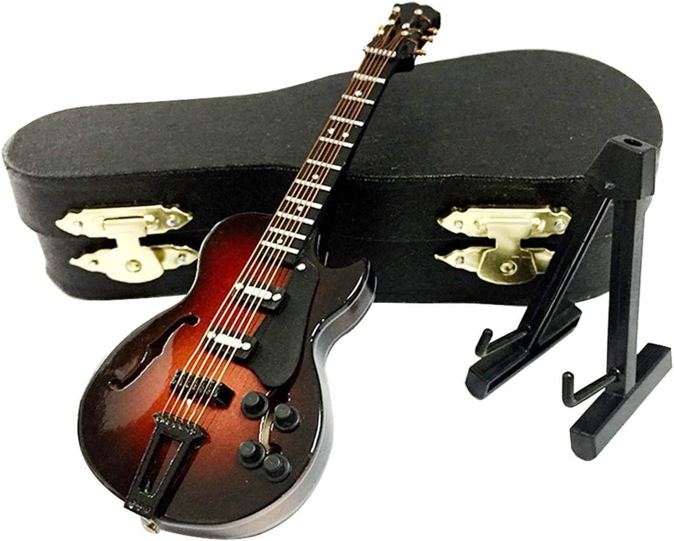 QOTSTEOS Guitarra en Miniatura de Madera con Soporte y Estuche, Mini Instrumento Musical, réplica en Miniatura, Modelo de casa de muñecas, Adorno de Guitarra para cumpleaños, decoración del hogar