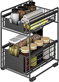 LXVY Étagère sous Evier Rack etagère de Rangement Cuisine Panier de Rangement Coulissant à 2 Niveaux pour Placard de Cuisi...