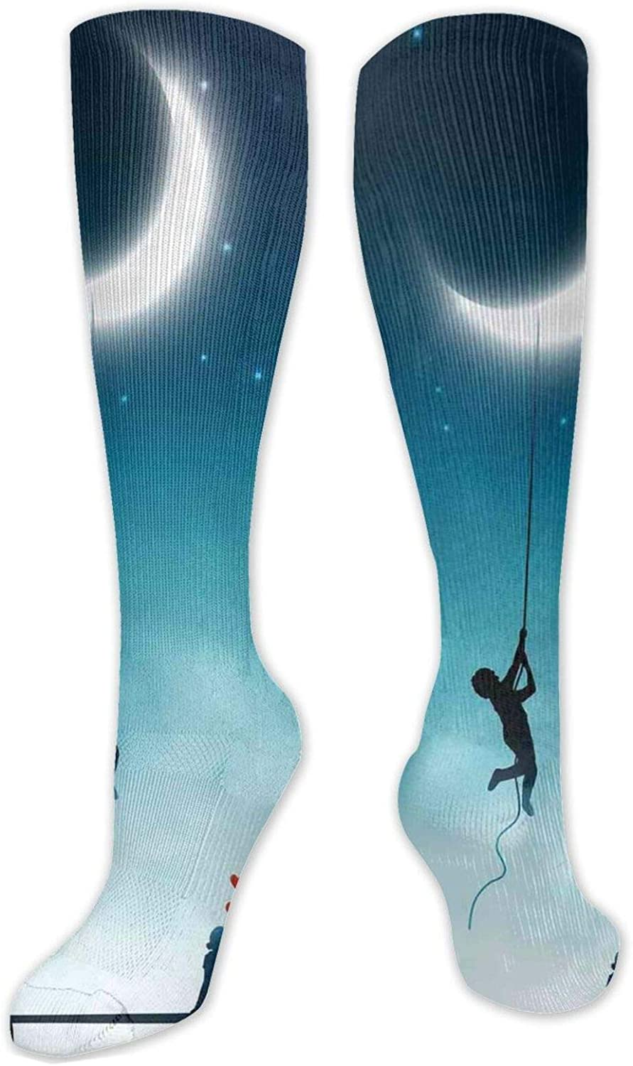 Compression High Socks-Boy Climbing To The Moon With Rope And Girl On Bench Love Valentines Fantasy,Socks Women and Men - Best for Running,Athletic,Hiking,Travel,Flight