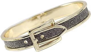 Hinged Gold Tone Buckle Bangle Bracelet Shimmery Smoke Fashion Chic Trendy Bracelet