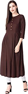 GOD BLESS Brown Colored Rayon Solid Causal Anarkali Kurti