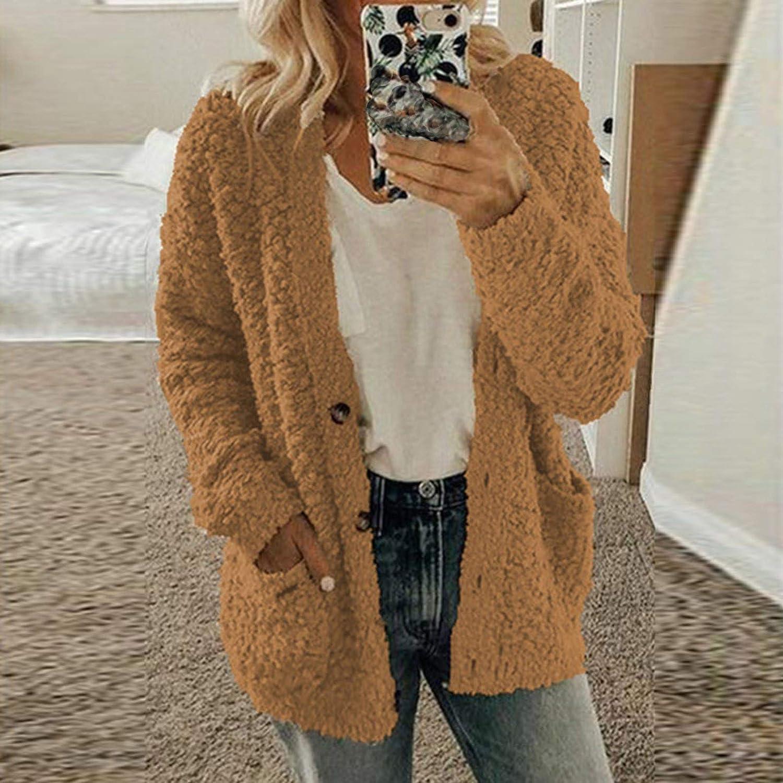 Lazzboy Store Cardigan Frauen Plus Size Plüsch Pullover Taschen Oberbekleidung Buttons Coat Damen Mantel Jacke Revers Warm Winter Outwear übergroße Kaffee