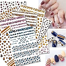 3D Nail Stickers for Women Nail Art Accessories Appliques 9 Large Sheets Nail Art Leopard Decals Waterproof Enchanting Wild Snake Pattern Nail Tattoo Stickers