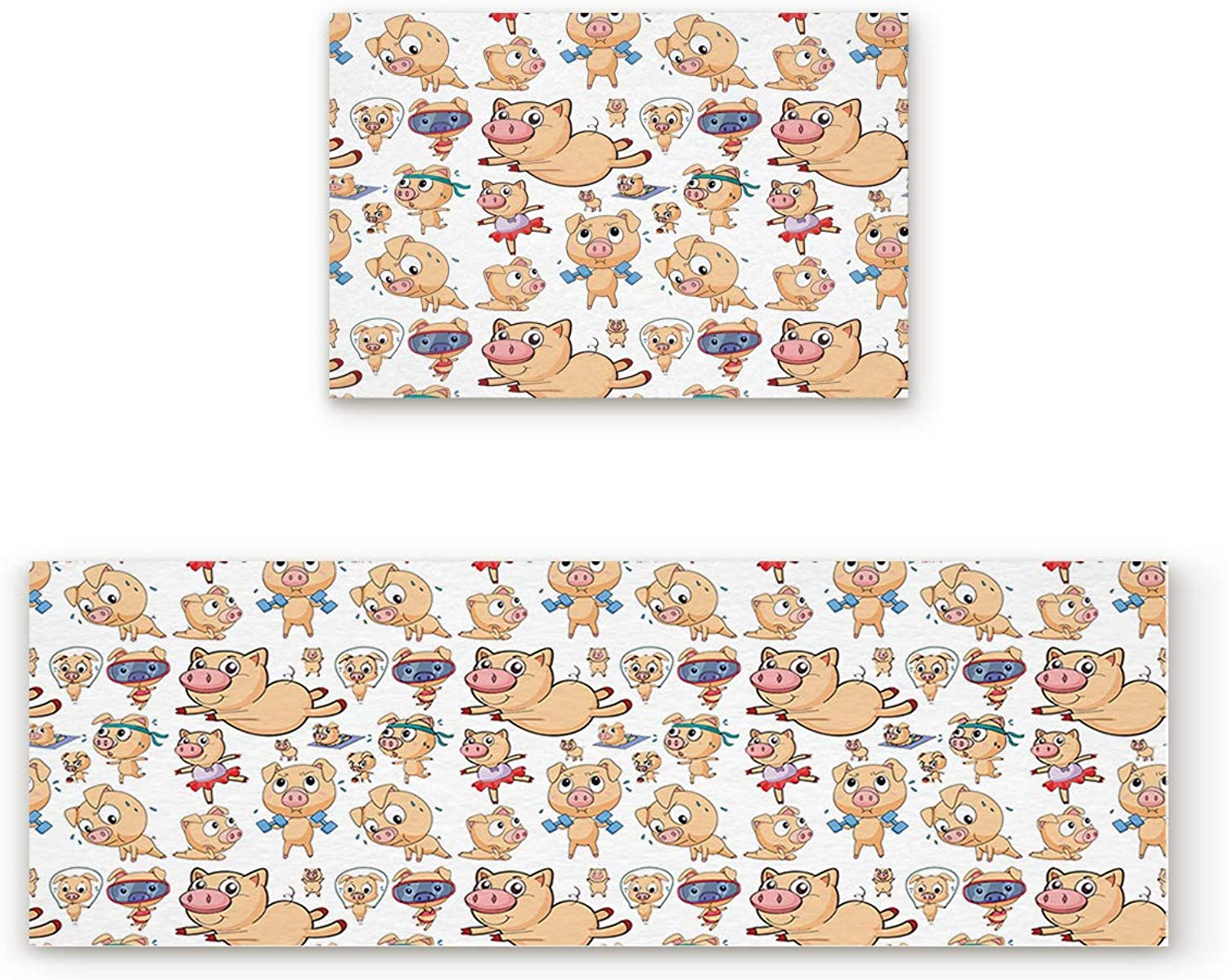 Aomike 2 Piece Non-Slip Kitchen Mat Rubber Backing Doormat Cute Pattern of Pigs Doing Various Sports Runner Rug Set Hallway Living Room Balcony Bathroom Carpet Sets (19.7  x 31.5 +19.7  x 47.2 )
