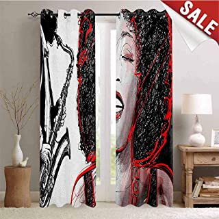 Hengshu African Waterproof Window Curtain African American Girl Singing with Saxophone Player Popular Sound Design Decorative Curtains for Living Room W96 x L108 Inch Black Pale Grey
