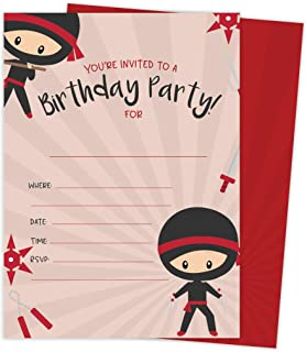 Ninja Boy 1 Happy Birthday Invitations Invite Cards (25 Count) With Envelopes and Seal Stickers Vinyl Boys Kids Party (25ct)