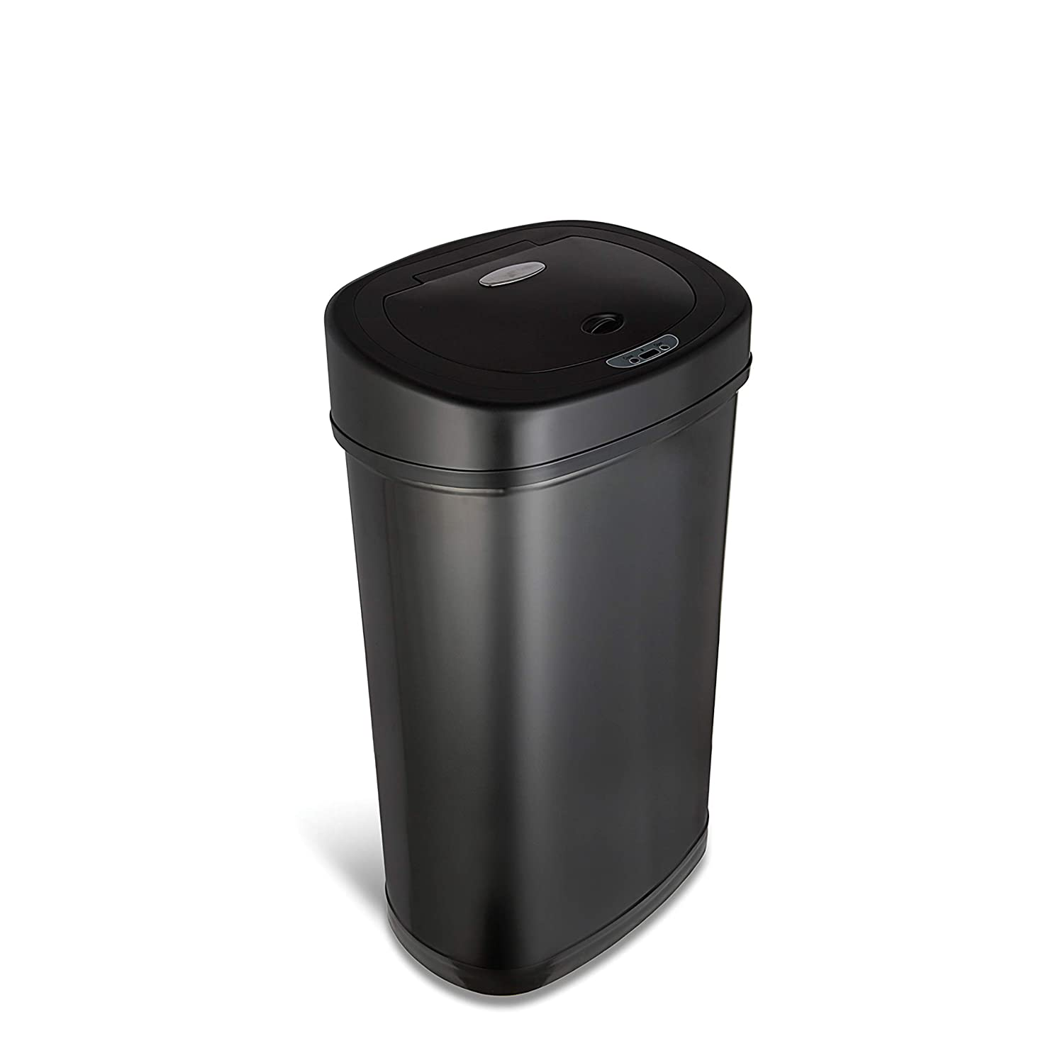 NINESTARS DZT-50-9BK Automatic Touchless Infrared Motion Sensor Trash Can, 13 Gal 50L, Black Steel Base (Oval, Black Lid)