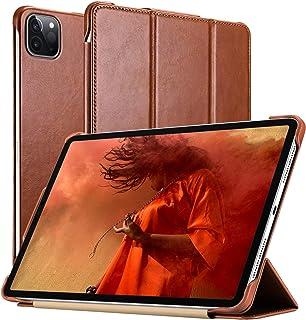 iPad Pro 12.9 Case 2020, ICARER Genuine Leather Folio Flip Smart Cover with Auto Wake/Sleep Function [Magnetic] Kickstand ...