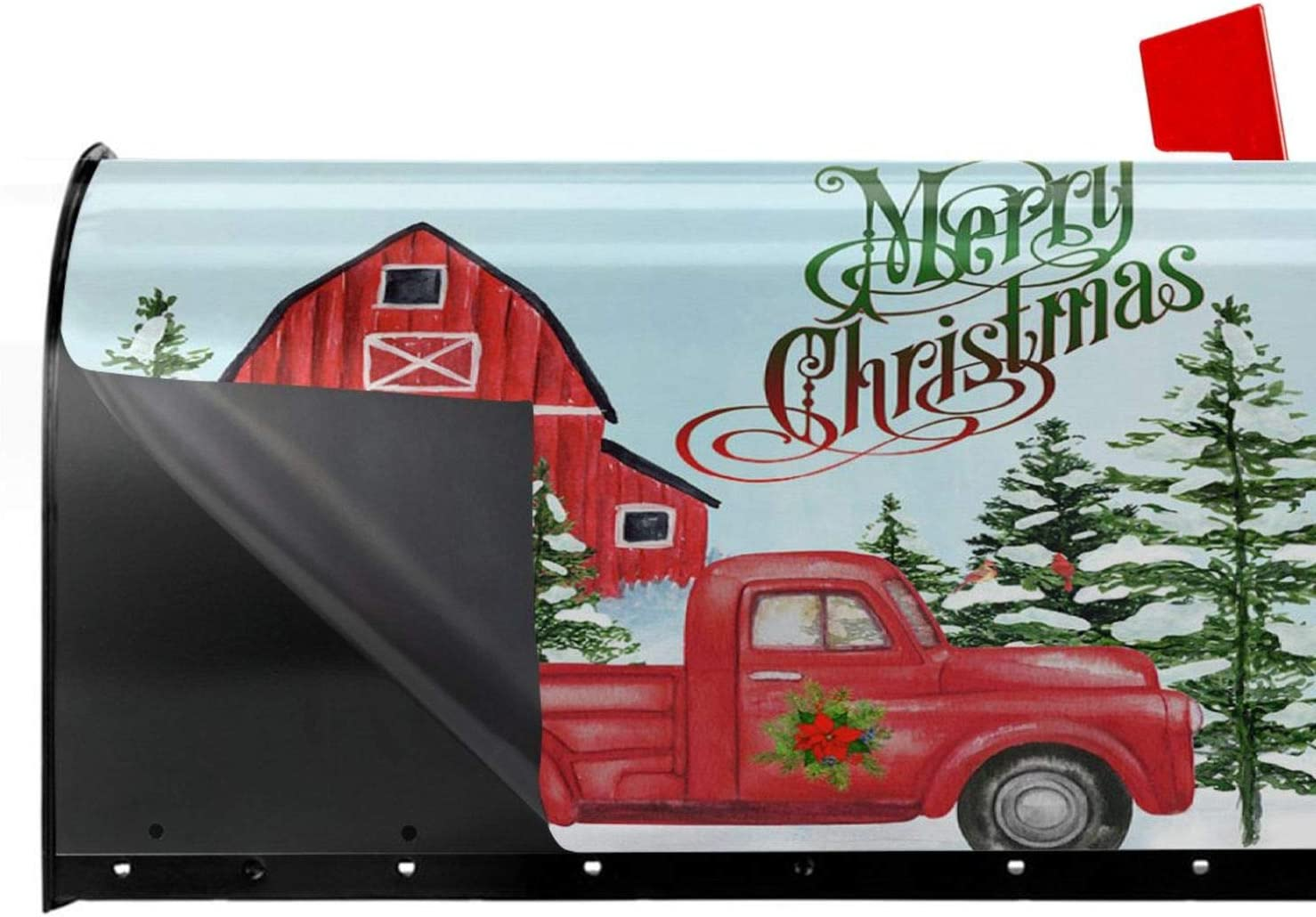 ValueVinylArt Fun Red Truck /& Red Barn Christmas PVC Mailbox Covers Standard Size Fun Red Truck /& Red Barn Christmas Mail Wraps Cover Letter Post Box 21x18 in