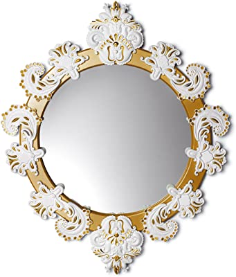 Lladro Round Mirror Small White / Gold
