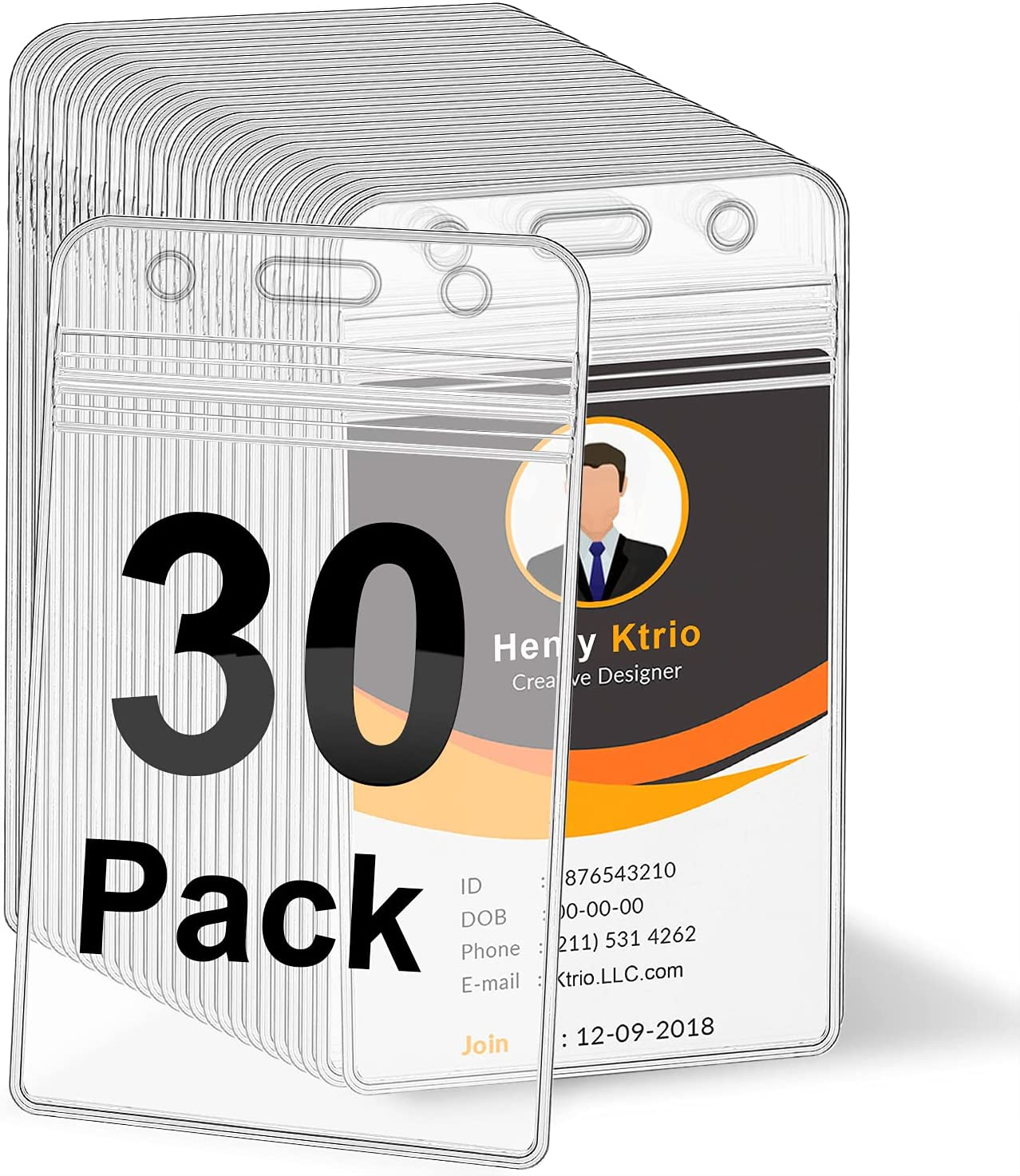 Seasonal Wrap Today's only Introduction KTRIO 30 Pack Badge Holders ID Holder Plastic Holde