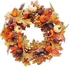 N/F 20 inch Pumpkin Maple Wreath - Autumn Maple Leaf Wreath for Front Door Decor,Wall Decoration for Fall Harvest,Thanksgi...