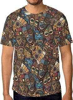WIHVE African Craft Voodoo Tribal Mask Men's Crew Neck Short Sleeve T-Shirt