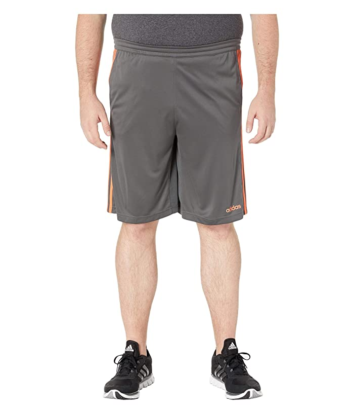 adidas Big Tall D2M 3-Stripe Shorts (Grey Six/True Orange) Men