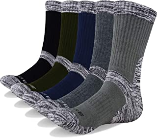 YUEDGE Men's 5Pairs Wicking Cushion Crew Cotton Outdoor Performance Hiking Trekking Running Walking Socks