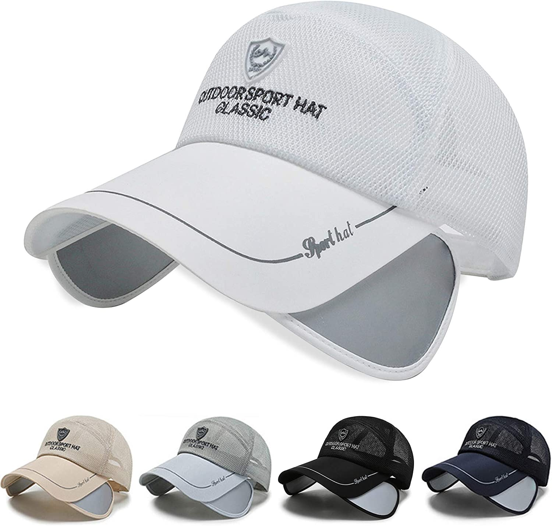 Elfcool Breathable Baseball Hat Outdoor Sun Protection Hat Adjustable Brim Cap