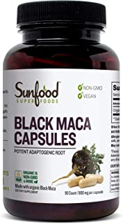 Sunfood Superfoods Black Maca Capsules Organic 90ct 800 mg