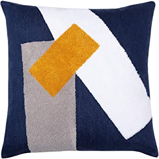 Embroidered Abstract Art Decorative Pillow Cover 18x18 - Home Decor Modern Accent Pillow Case for Couch Sofa Bed, Color Clashing Geometric Patterns Square Pillowcase for Living Room/Car